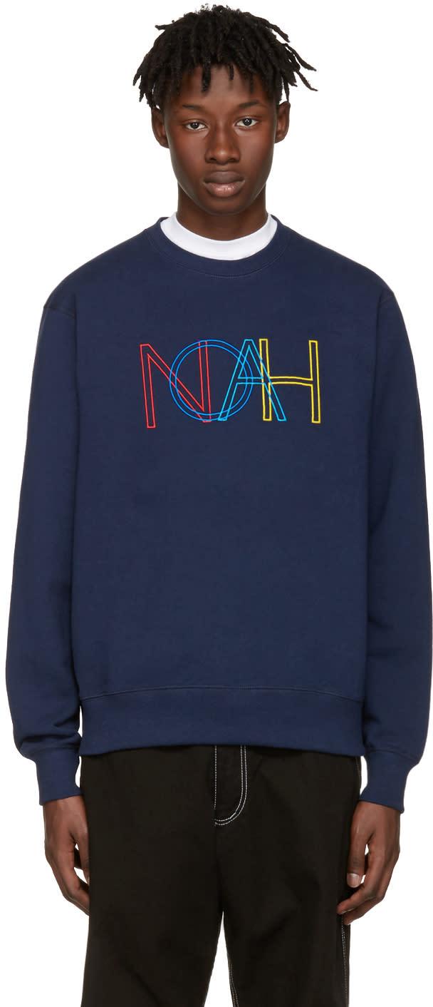 Noah Nyc Navy Colors Logo Pullover
