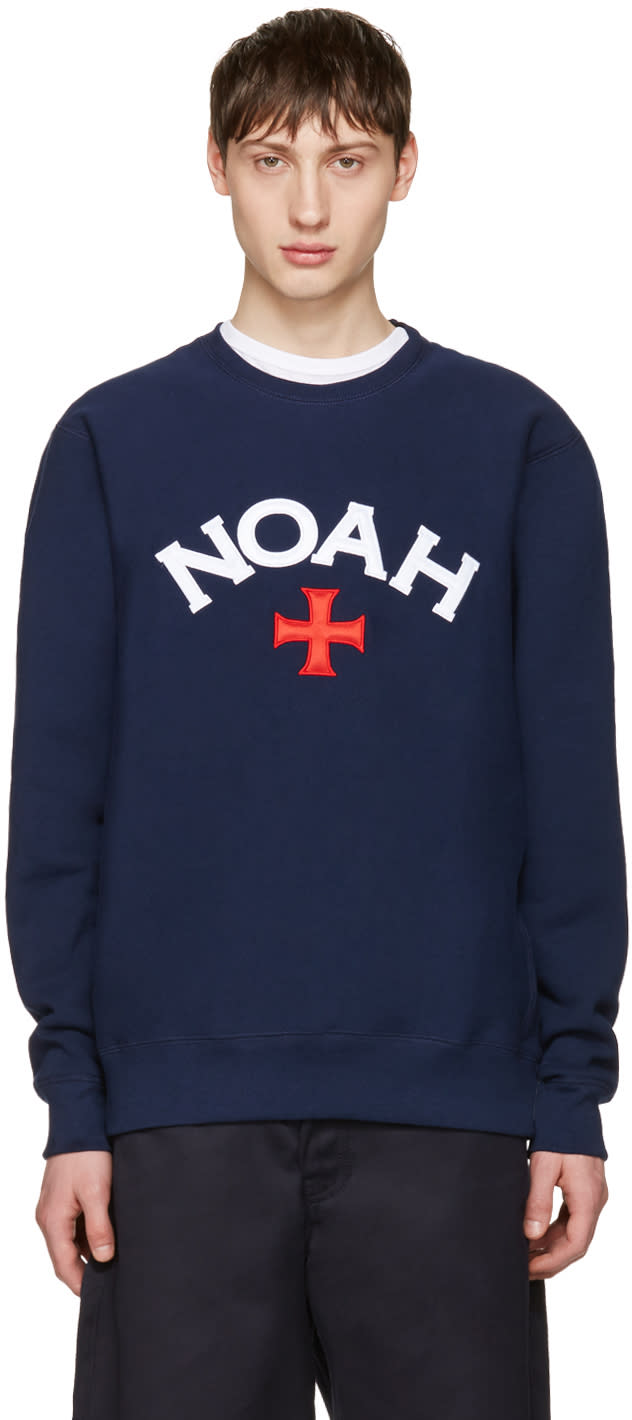 Noah Nyc Navy Varsity Logo Sweatshirt