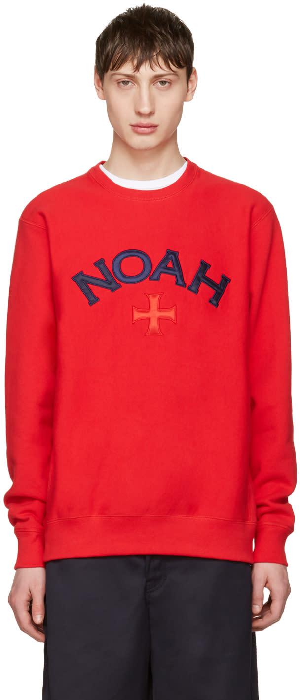 Noah レッド バーシティ ロゴ スウェットシャツ