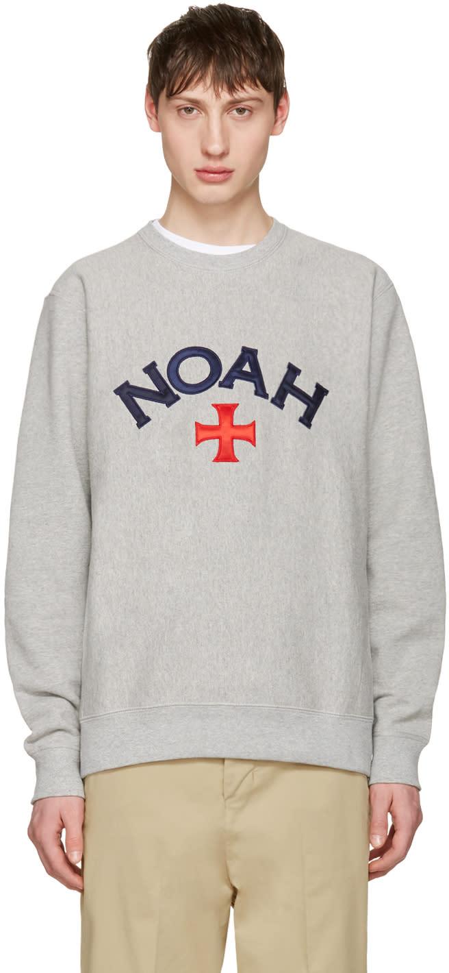 Noah Nyc Grey Varsity Logo Sweatshirt