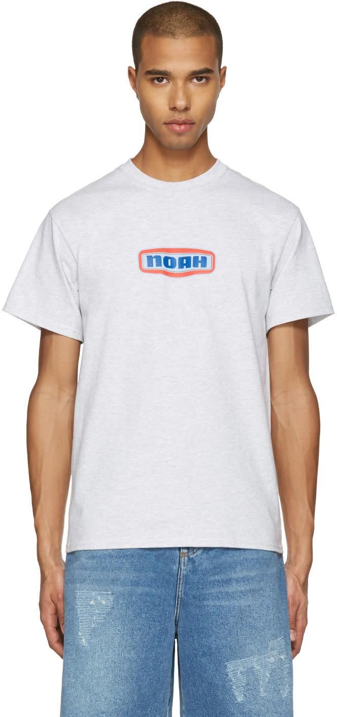 Noah Nyc Grey Gas Station Logo T-shirt
