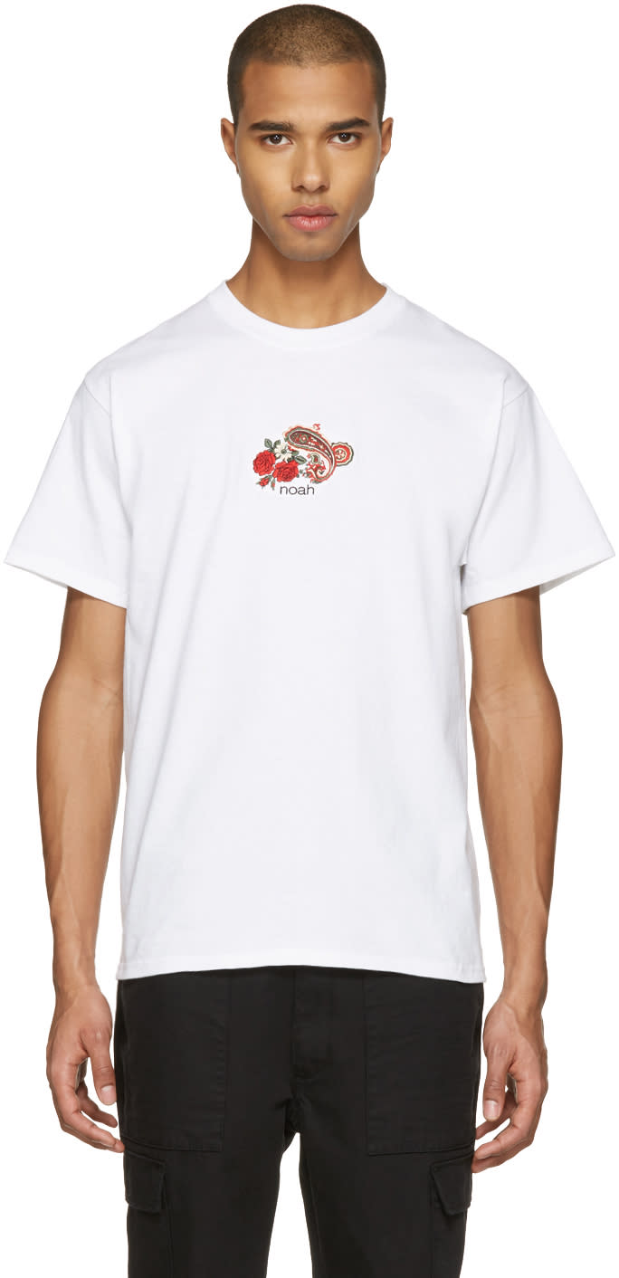 Noah Nyc White Embroidered Paisley Logo T-shirt
