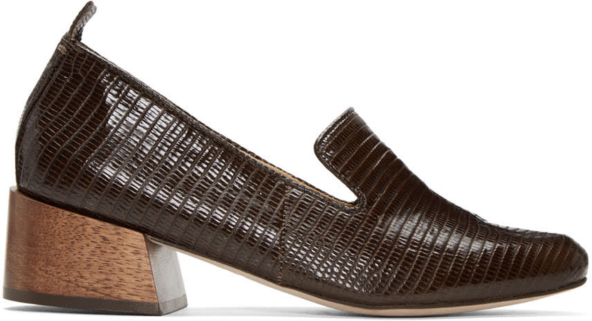 Mari Giudicelli Brown Lizard Gaeva Loafers