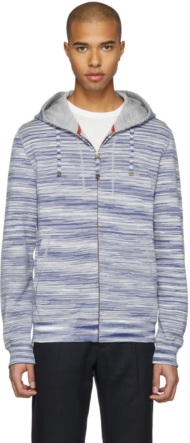 Missoni Blue Striped Zip Hoodie