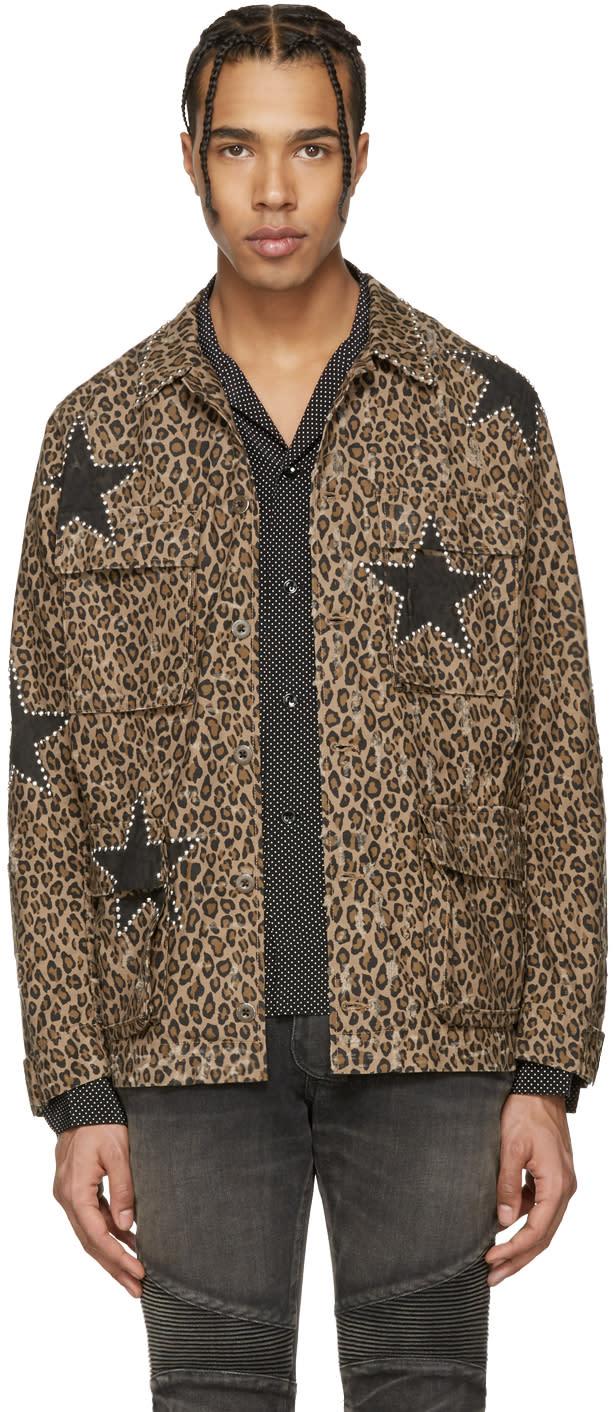 Amiri Brown Leopard Field Jacket