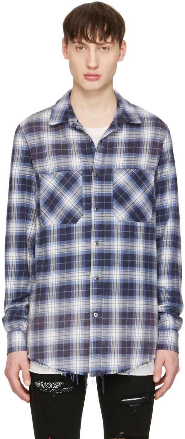 Amiri Blue Plaid Grunge Shirt