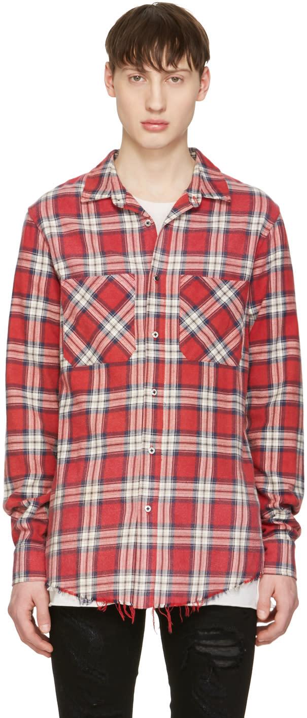 Amiri Red Plaid Grunge Shirt