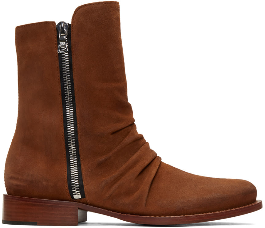 Amiri Brown Suede Stack Boots