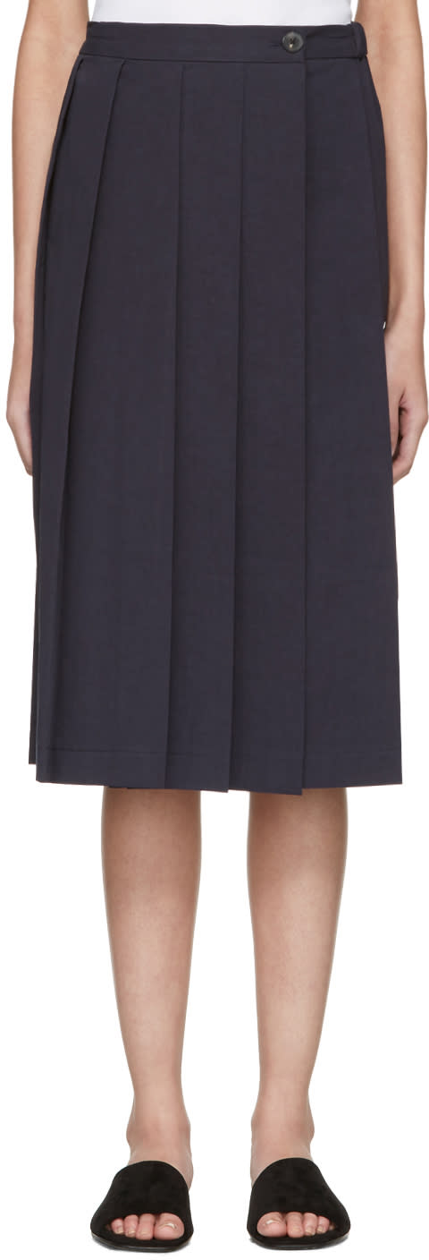 Moderne Navy Pleated Wrap Skirt