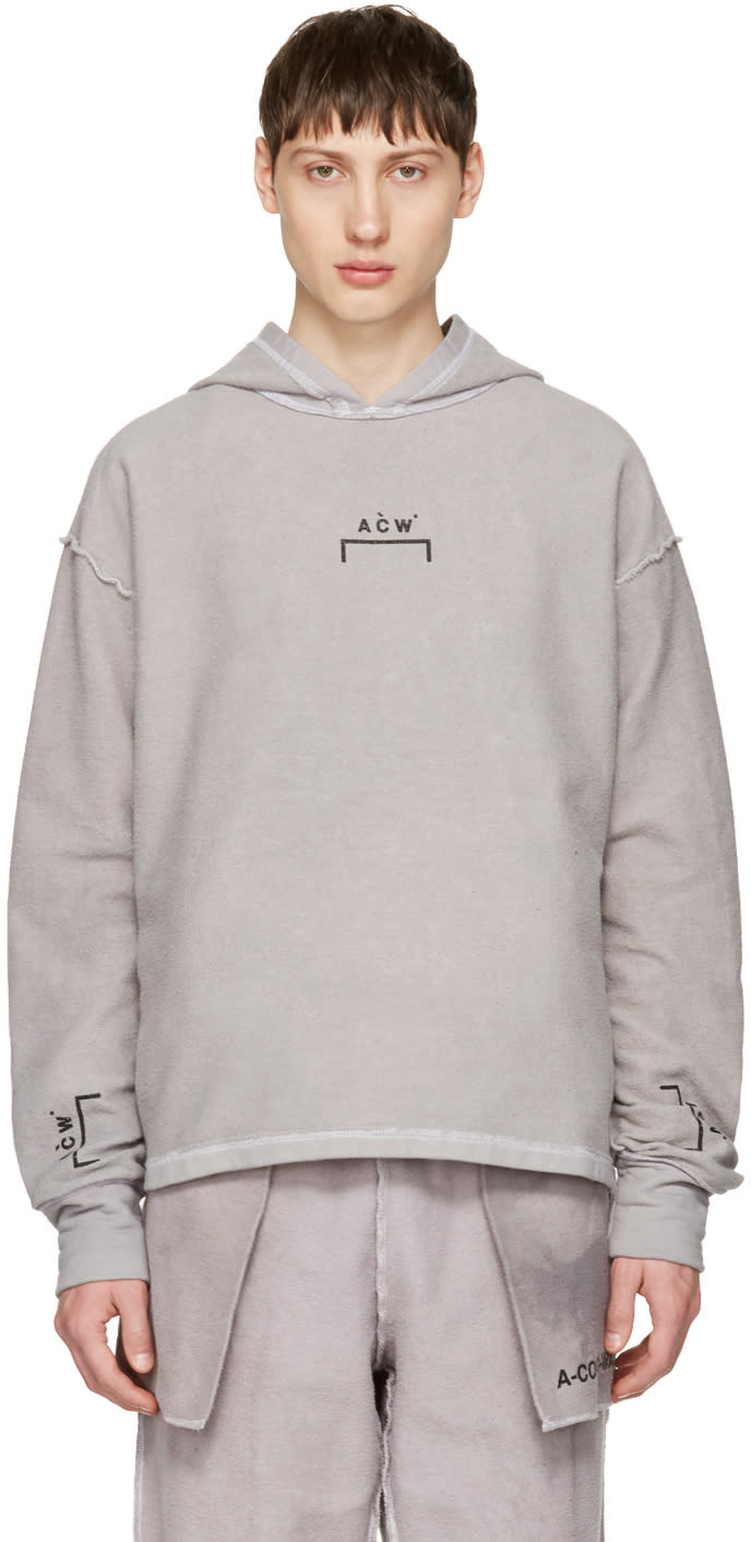A-cold-wall* Reversible Grey Oversized Logo Hoodie