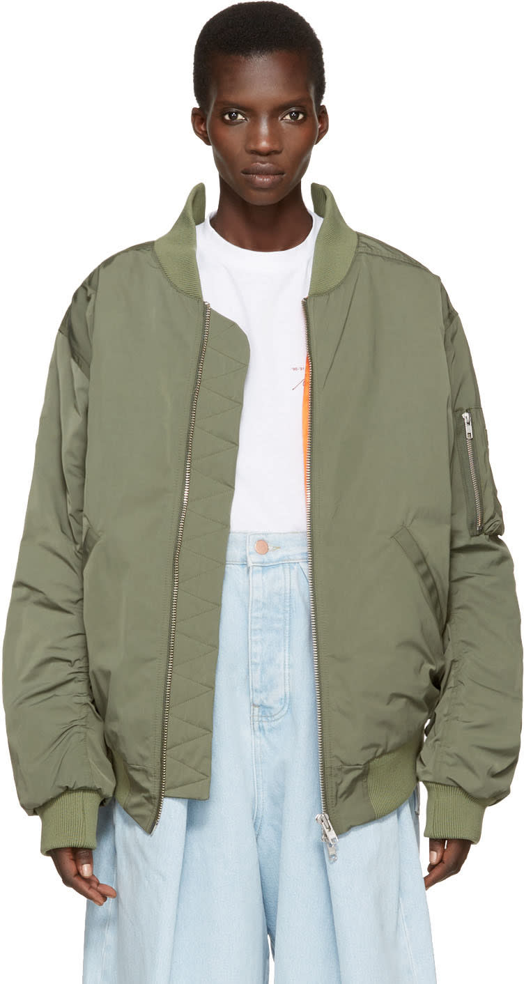 Image of Martine Rose Green Oversized Collapsed Bomber Jacket