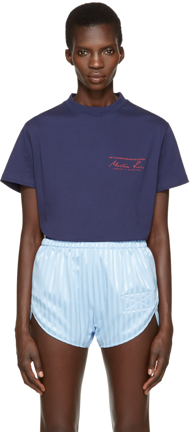 Image of Martine Rose Navy Logo T-shirt