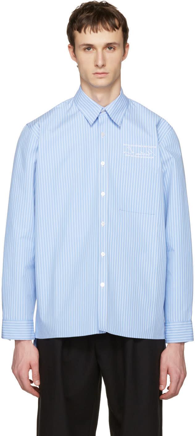 Martine Rose Blue Striped Oversized Shirt