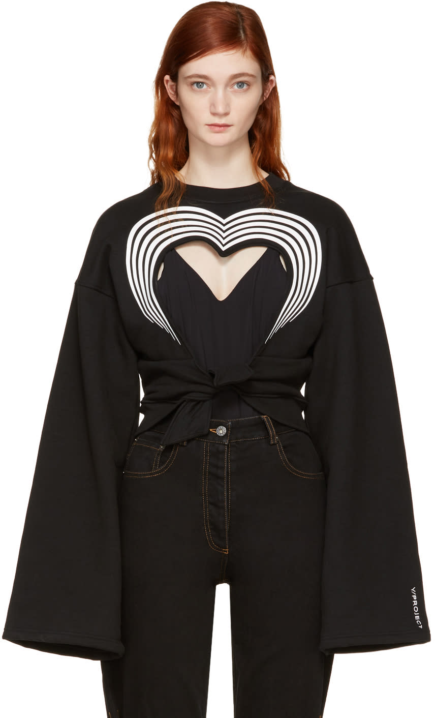Image of Y-project Black Heart Cut-out Sweatshirt
