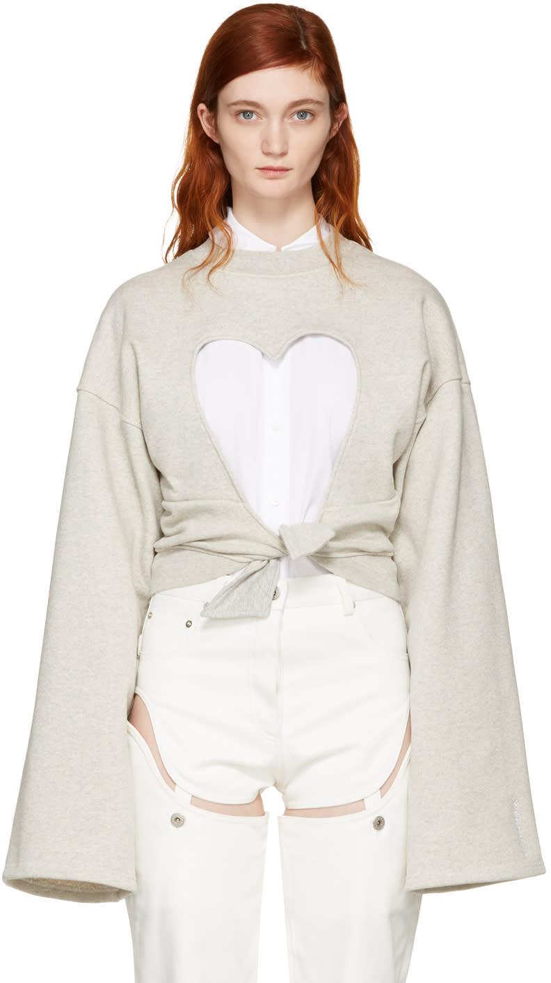 Y-project Grey Heart Cut-out Sweatshirt