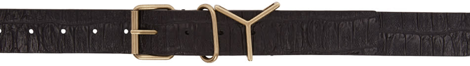 Y-project Black Croc-embossed y Belt