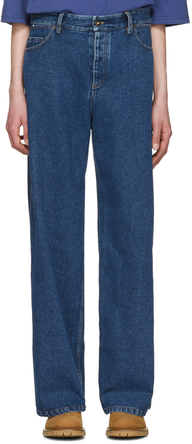 Y-project Navy Wide-leg Jeans
