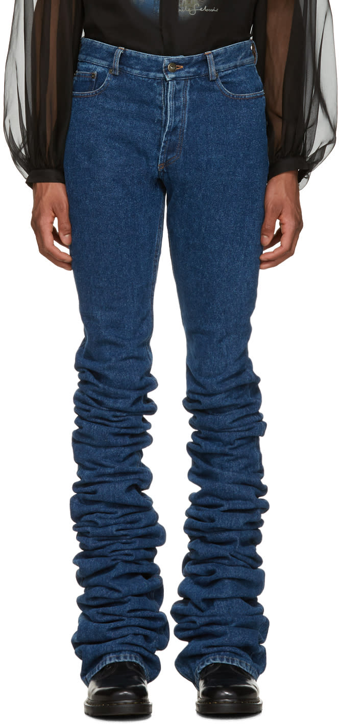 Y-project Navy Extra Long Fold Jeans