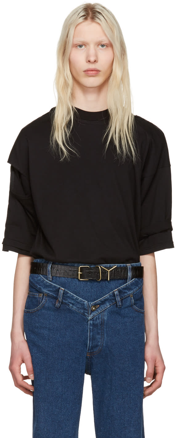 Y-project Black Cut-out T-shirt