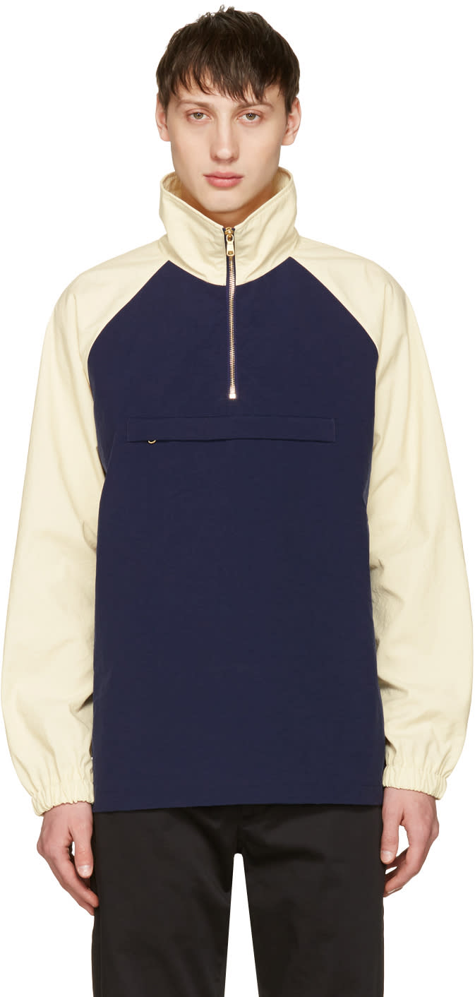 Aime Leon Dore Navy and Off-white Nylon Popover Jacket