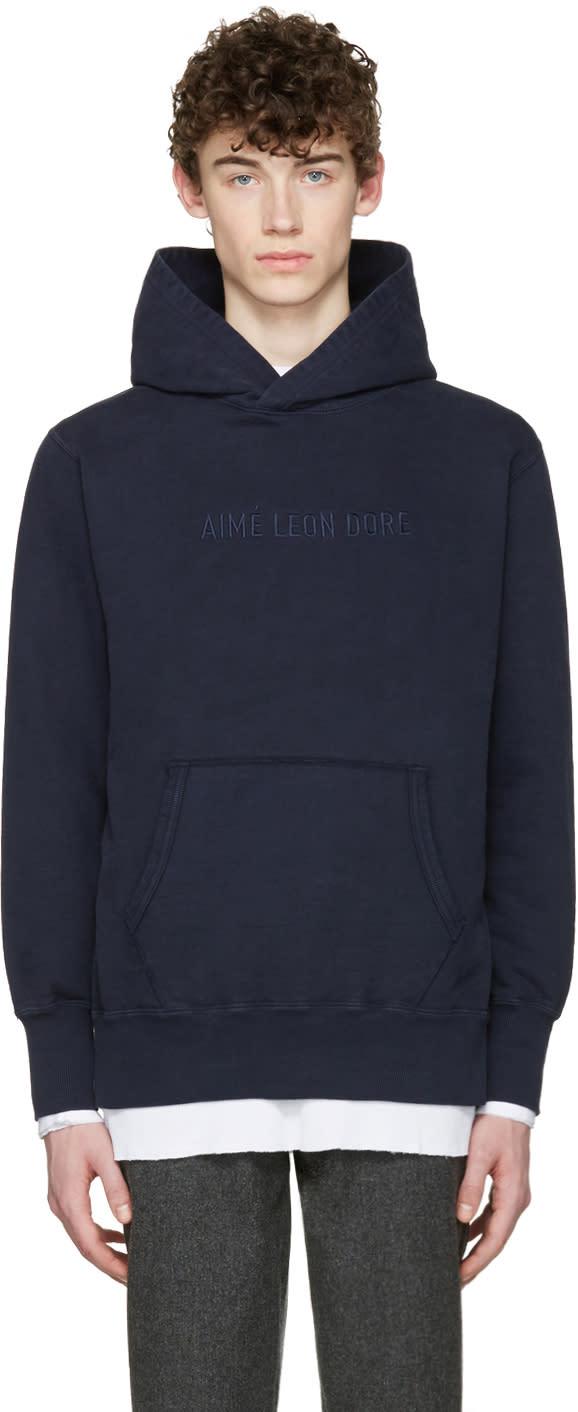 Image of Aime Leon Dore Ssense Exclusive Navy Logo Hoodie