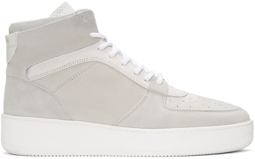 Image of Aime Leon Dore Grey Leather High-top Sneakers