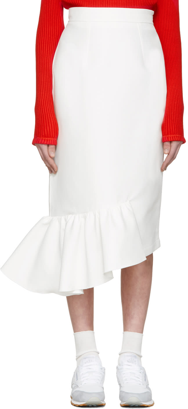 Shushu-tong White Single Ruffle Skirt