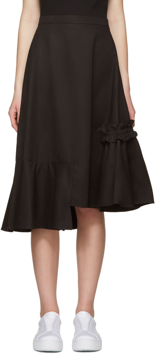 Shushu-tong Black Asymmetric Skirt