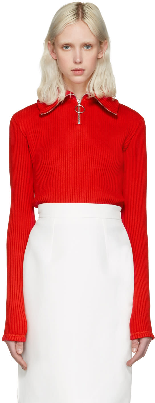 Shushu-tong Red Knit Zip Turtleneck