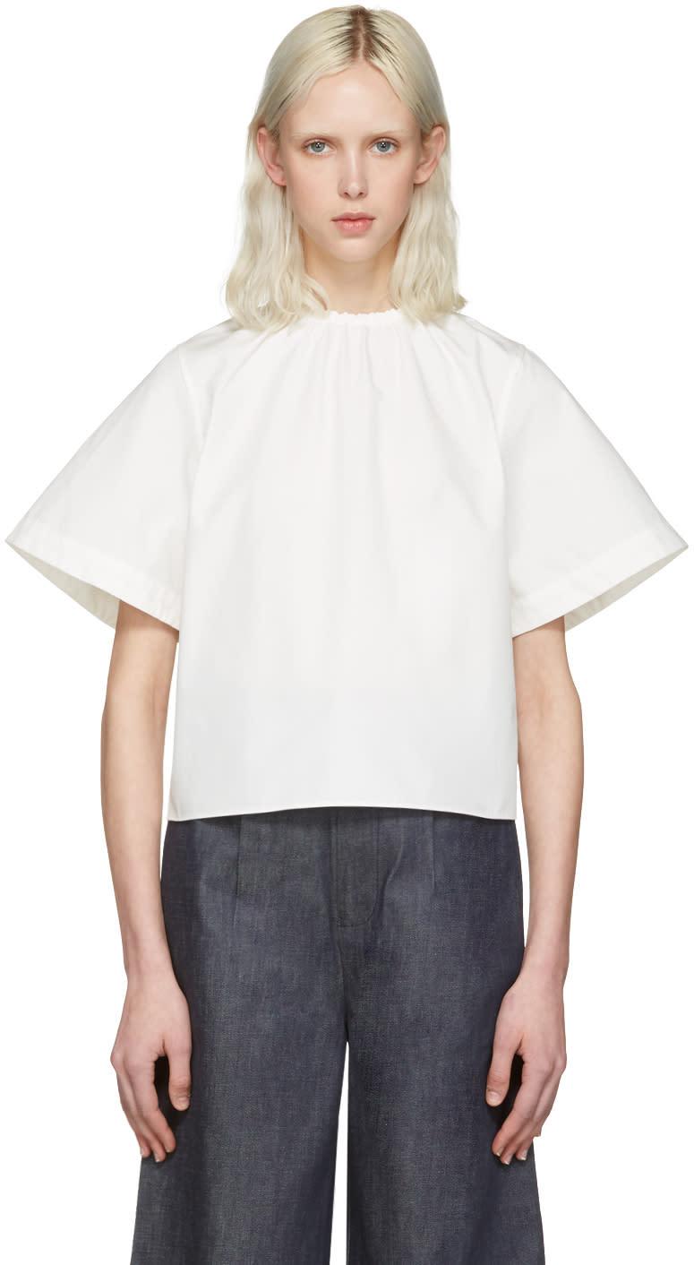 Shushu-tong White Elastic Neckline Blouse