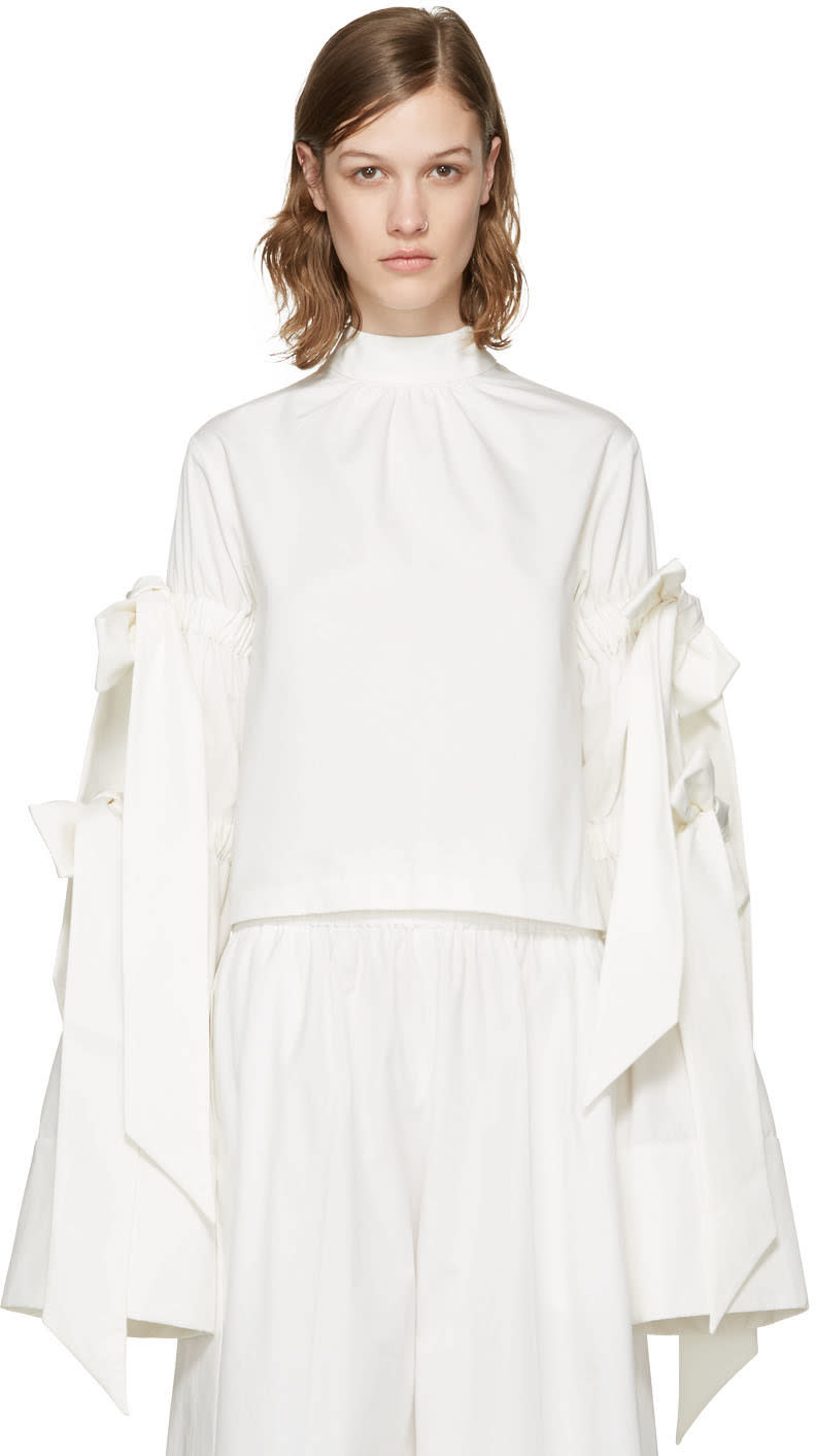 Shushu-tong White Four Bows Blouse