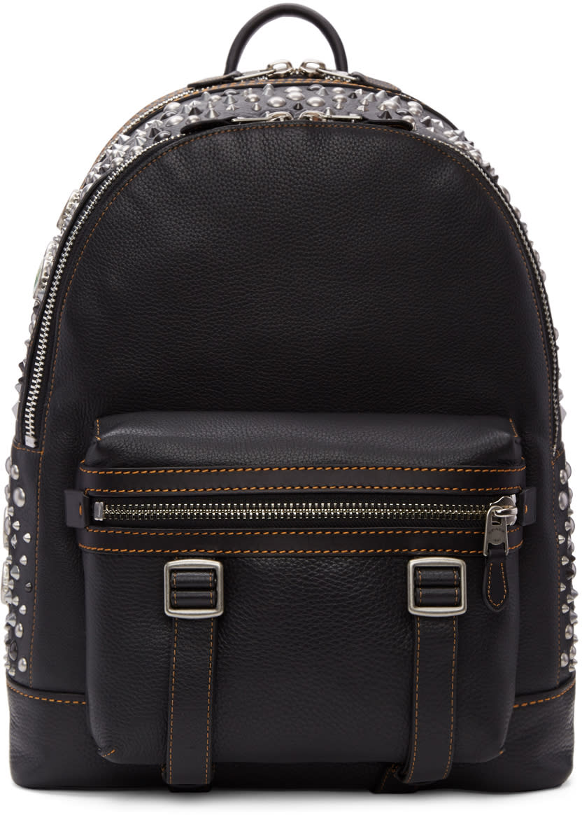 Image of Coach 1941 Black Studded Flag Backpack