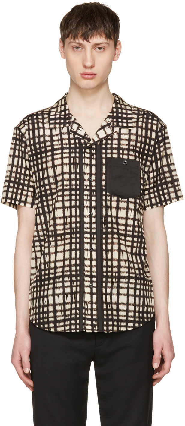 Image of Coach 1941 Beige and Black Baseman Edition Plaid Shirt