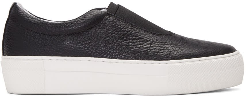 Primury Black Leather Basaland Sneakers