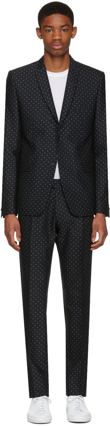 Philippe Dubuc Black Classic Polka Dot Suit