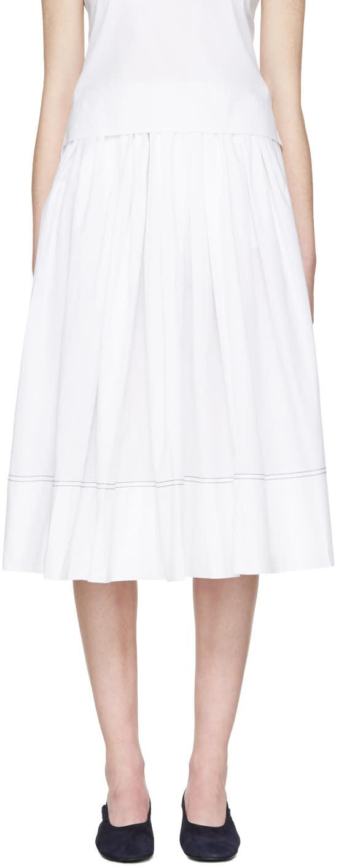 Khaite White Poplin Celia Skirt