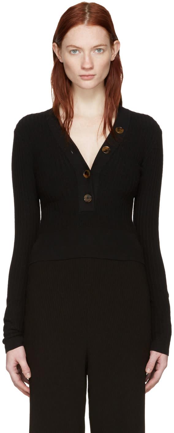 Khaite Black Gloria V-neck Sweater