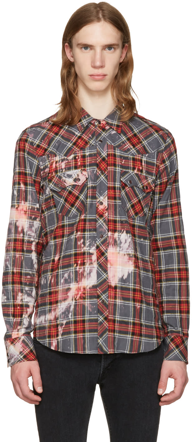 Herman Grey Bleached Plaid Western Shirt