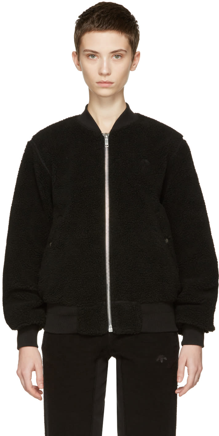 Adidas Originals By Alexander Wang Reversible Black Bomber Jacket