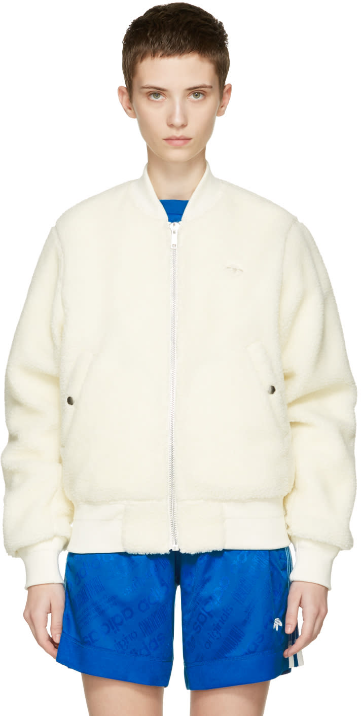 Adidas Originals By Alexander Wang Reversible Off-white Bomber Jacket