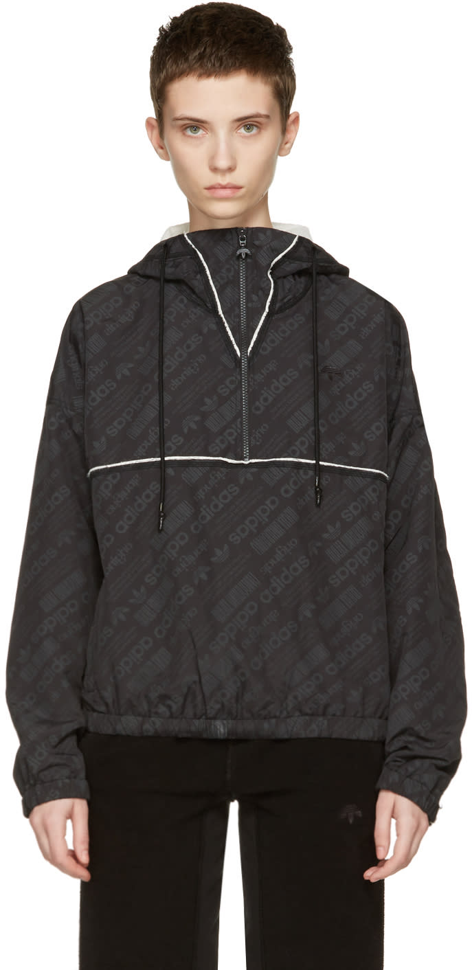 Adidas Originals By Alexander Wang Black Windbreaker Jacket