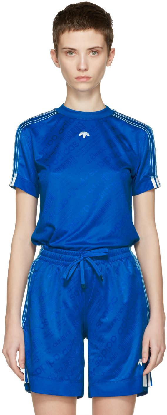 Image of Adidas Originals By Alexander Wang Blue Soccer Jersey T-shirt