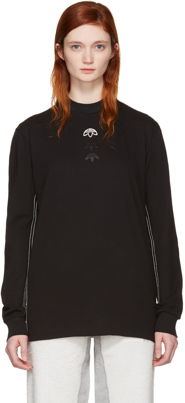Adidas Originals By Alexander Wang Black Long Sleeve Logo T-shirt