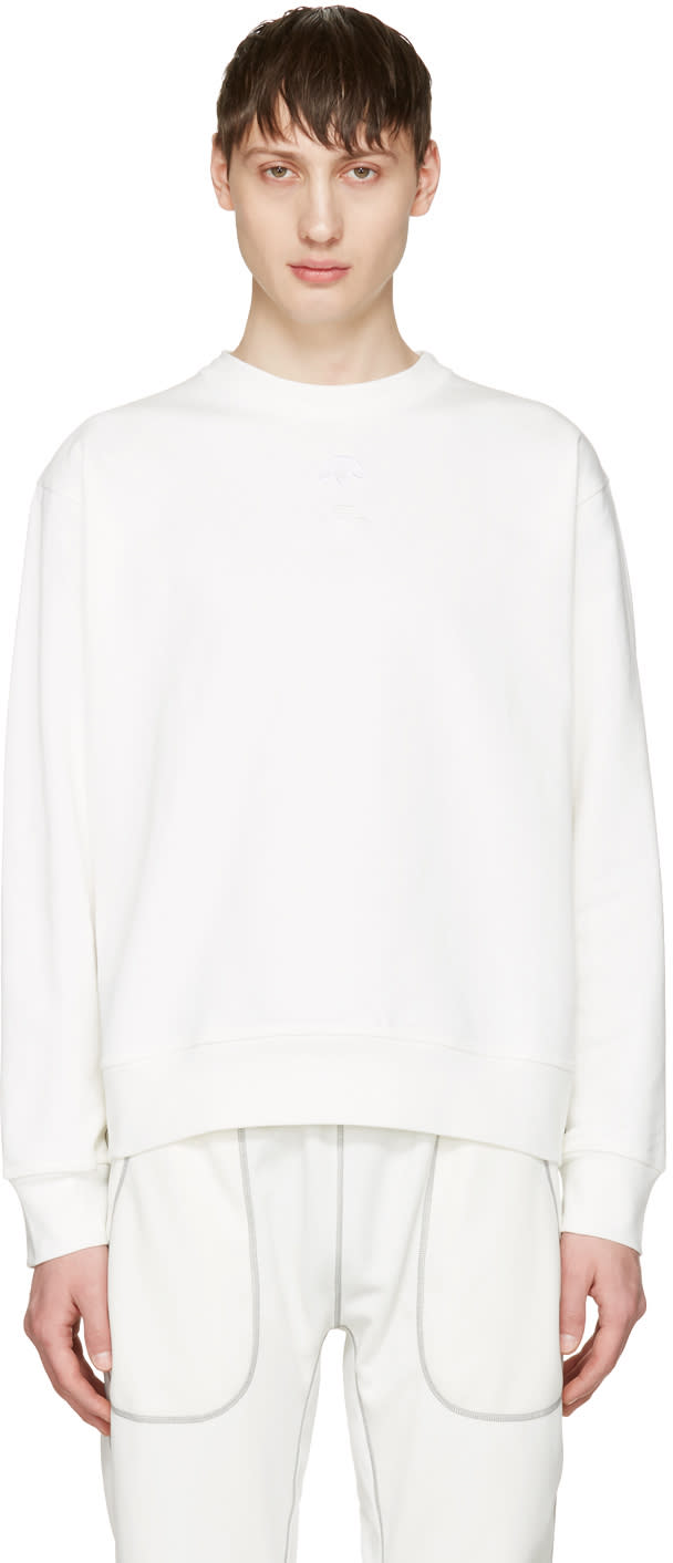 Adidas Originals By Alexander Wang White Logo Crew Sweatshirt