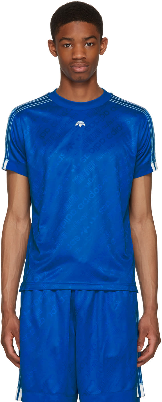 Adidas Originals By Alexander Wang Blue Soccer Jersey T-shirt