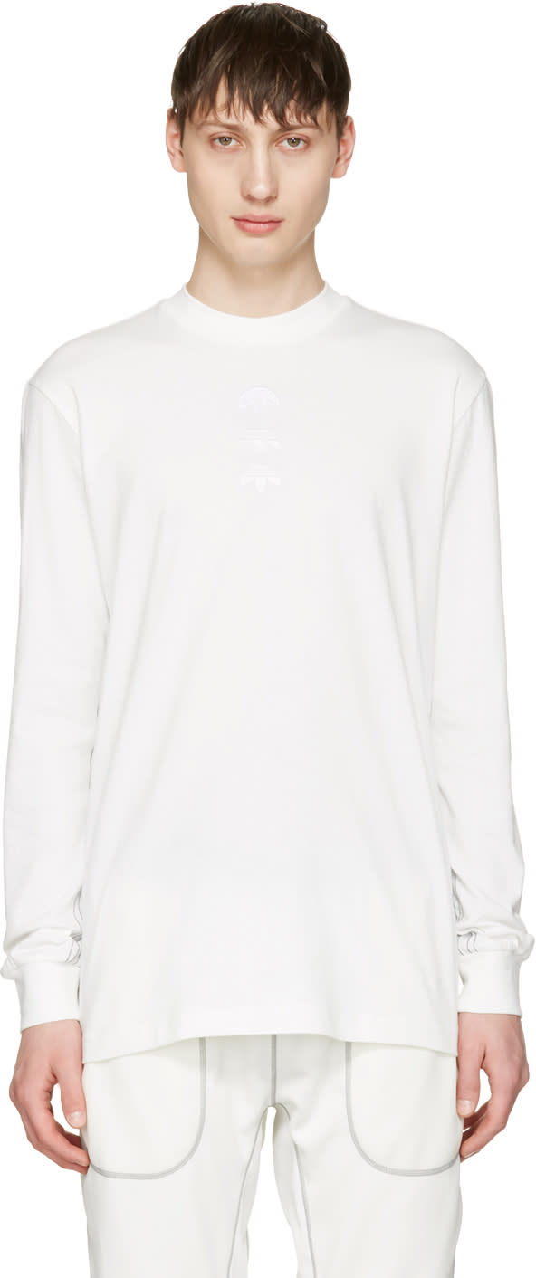Adidas Originals By Alexander Wang White Long Sleeve Logo T-shirt