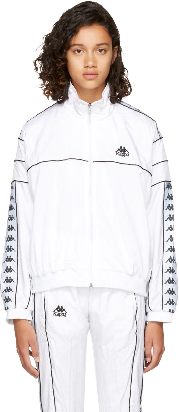 Image of Kappa Ssense Exclusive White Oversized Windbreaker Track Jacket