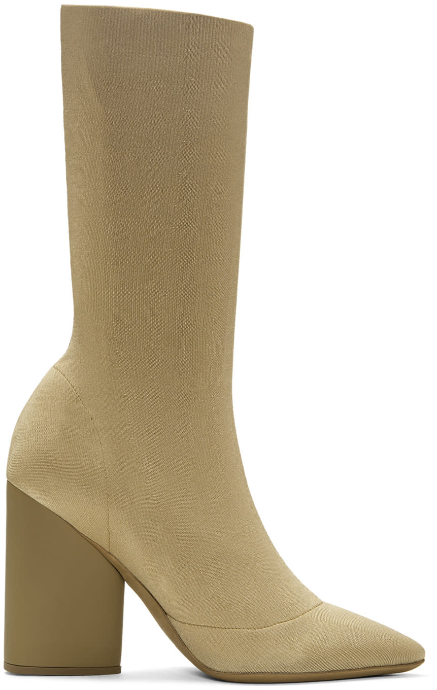 Image of Yeezy Beige Knit Ankle Boots
