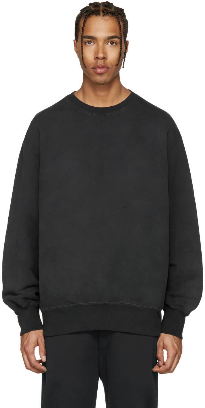 Image of Yeezy Black Boxy Crewneck Sweatshirt