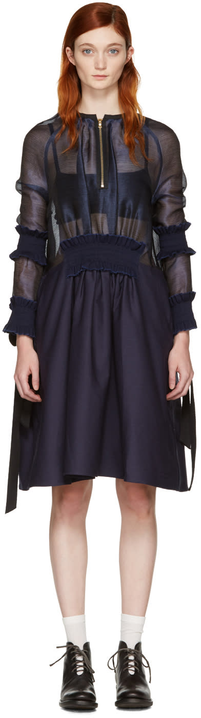 Ovelia Transtoto Navy Zip Front Dress